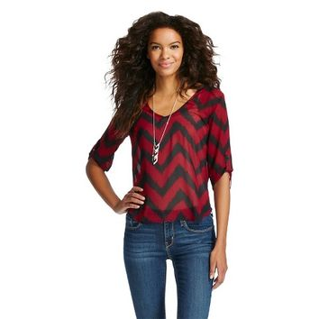 Rolled Sleeve Chevron Blouse - 3Hearts