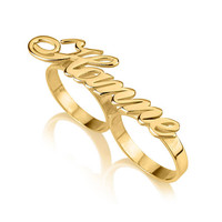 Allegro Font Two Finger Name Ring