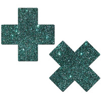 Teal Glittery Cross Pasties