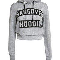 Ashleigh Hangover Slogan Crop Hoodie Top in Grey