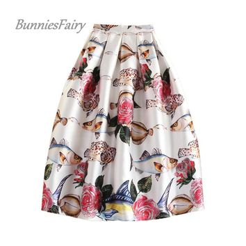 BunniesFairy 2017 Original Design Autumn Winter New Royal Vintage Retro Oil Painting 3D Print High Waist Box Pleated Skirt Tutu