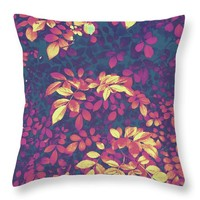 Foliage Hues - Dark Blue Gold And Purple Throw Pillow