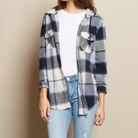 Hooded Boyfriend Flannel Shirt