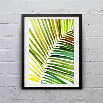 Palm leaf, watercolor painting, tropical coconut tree leaf inspire Botanical Illustration Spring leaf print wall art office decor gift