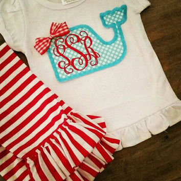Girls Applique' Monogram Whale Set- shorts or pants- monogram beach spring summer- whale outfit resort beach- stripe polka dot ruffle