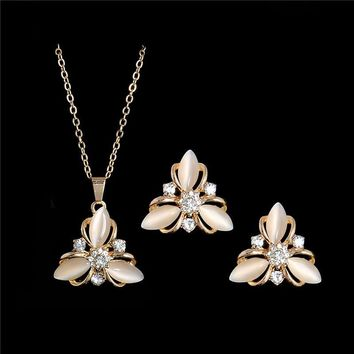H:HYDE Fashion Wedding Jewelry Sets Gold Color Opal Stone Austrian Crystal Necklace Earrings