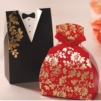 Wedding Favor Box,  Black and Red Wedding, Bride & Groom Candy Box, Wedding Favors - Pack of 50