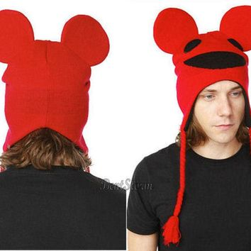 Licensed cool NEW Deadmau5 Mouse Costume Ears Pilot Hat RED Peruvian Beanie Laplander Ski Cap