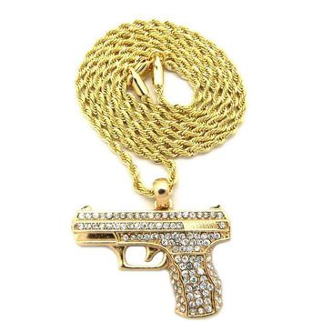 ESBONRC MEN'S ICED OUT GOLD PLATED GUN PENDANT W 2mm 24' ROPE CHAIN NECKLACE DD032G