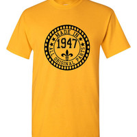 Made in 1947 All Original Parts Tshirt. 68th Birthday Shirt.  Funny Birthday Tshirts. Ladies and Mens Unisex Styles. Makes A Great Gift.