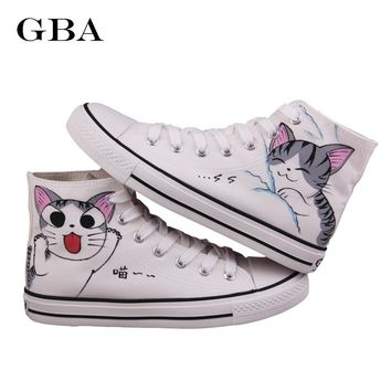 Gba New 2017 Spring Autumn Women Hand Painted Canvas Shoes Lazy Cat High Help Colored Drawing Casual Shoes Academy Sport Loafers