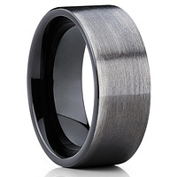 8mm - Black Tungsten Ring - Gunmetal Ring - Gray Tungsten Band - Men's Ring