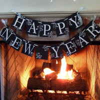 Happy New Year Banner New Years Eve Decor Sign black & Silver