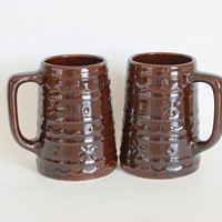 Vintage Marcrest Daisy Dot Tankards, Tall Coffee Mug or Beer Mug, Rustic Decor (Pair)