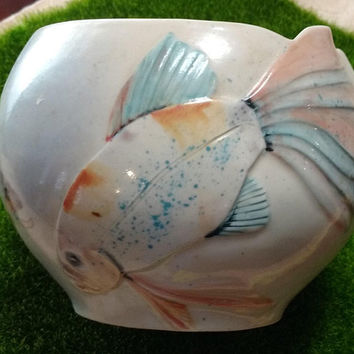 RARE Original Sally Askevold Montana Pottery Fish Vase Hand Painted  and Sculpted, One of a Kind, Beautiful Gift