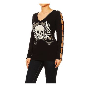 Funfash Women Plus Size Black Long Sleeve V Neck Gothic Skull Blouse Top Shirt