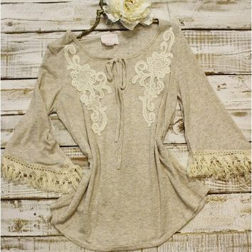 Heather lace tunic with tassel trim - oatmeal