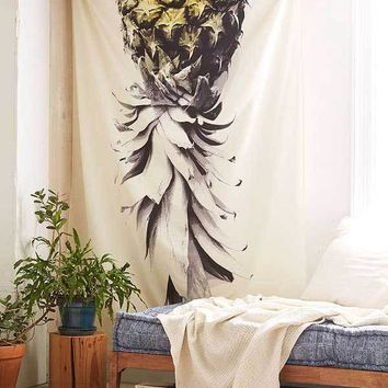 Cilected White Pineapple Print Tapestry Throw Indian Mandala Tapestry Wall Art Boho Home Decor Beach Tapestries Bedspread