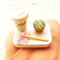Kawaii Cute Japanese Ring Coffee And A Cupcake by SouZouCreations