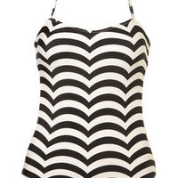 Black Scallop Stripe One Piece Swimsuit - View All - Swimwear - Topshop