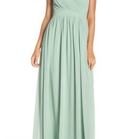 Lulu's Lace Shoulder Sleeveless Chiffon Gown | Nordstrom