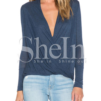 Blue Long Sleeve Deep V Neck Ruched Top