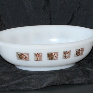 Vintage Handle Glasbake 1 Qt. White Milk Glass, Gold and Brown Teapot Pattern Casserole Dish, Teapot and Sundae Pattern, Hard to Find, Rare