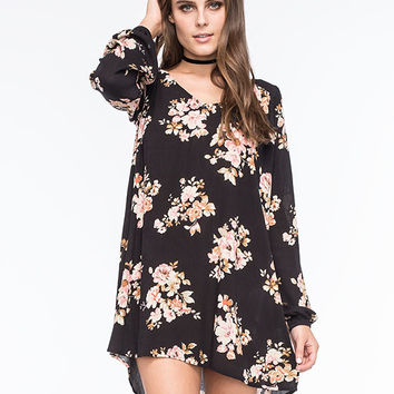 California Gypsy Open Back Floral Swing Dress Black Combo  In Sizes