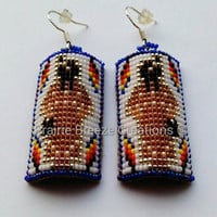 Curved Style Beaded Earrings - Native American Woman