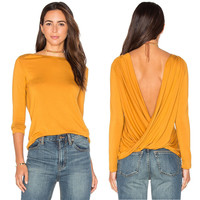Autumn Women's Fashion Long Sleeve Backless V-neck Tops [8098142407]