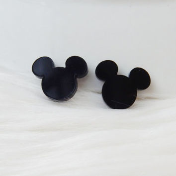 Black glass stud earrings Disney Mickey Mouse silhouette stud sterling silver earrings Black post earrings Mickey earrings