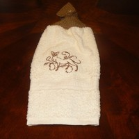 Embroidered Siamese Cat Hanging Dishtowel With Hand Knit Button Topper