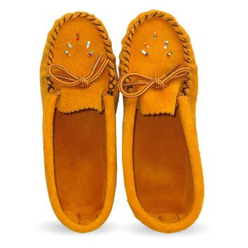 Beaded Junior Suede Leather Moccasins 120-J