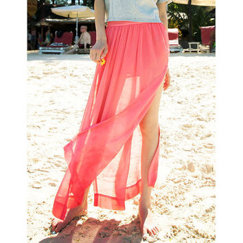 Bqueen Red Long Skirt with Splits BY165R