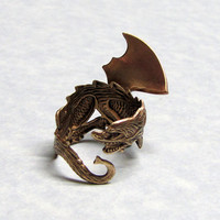 Fariytail Guardian Dragon Heart Ring by ranaway on Etsy