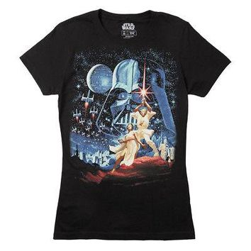 Star Wars Classic Movie Poster Image Licensed Womens Junior T-Shirt - Black