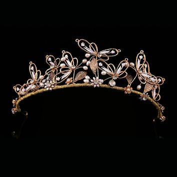 Unique Handmade Gothic Baroque Vintage Wedding Butterfly Crown Tiaras Cosplay
