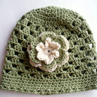 40% off - 4/23 - Green Cotton Summer Hat with flower