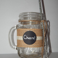 Rustic Wedding Favor - Rustic Wedding Decor - Adult Party Favor - Drinking Jar Gift