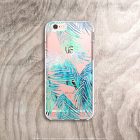 iPhone 6s Plus Case Clear Tropical Leaves iPhone Case Clear iPhone 6s Case Clear Mint iPhone 6s Case Samsung Note 5 Case Clear Palm Trees