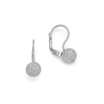 8mm Laser Textured Finish Ball Lever Back Earrings in Sterling Silver