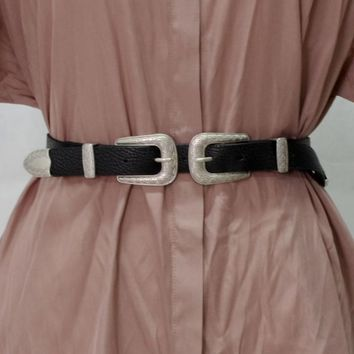Leather Double Ring Buckle Belt