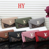 """Louis Vuitton"" Fashion Retro Logo Print Long Section Button Three Fold Multifunction Wallet Clutch Women Purse"