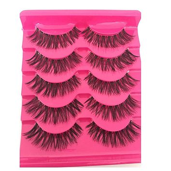 5Pairs/Box Handmade Natural Long Cross False Eyelashes Thick Black Fake Eye Lashes Makeup Cosmetic Extension Tools