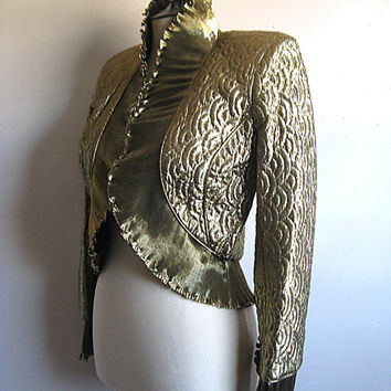 Vintage 1980s Bolero Jacket WAYNE CLARK Gold Lamay Ruffle Pleated Crop Jacket Small