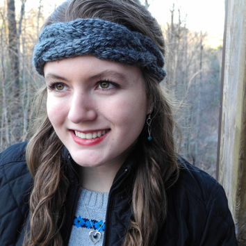 Chunky Headband // Knit Headband // Chunky Cable Headband // Charcoal Gray Ear Warmer // Cable Head Wrap