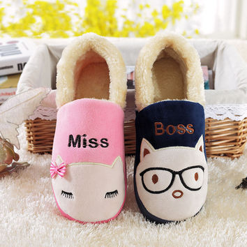 SexeMara Brand 2016 Winter Men Women Home Slippers Indoor Kawaii Funny Slippers Lovers Pantufa Couple Unisex Animal Slippers