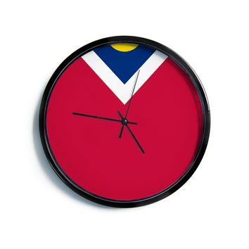 "Bruce Stanfield ""Denver Colorado City Flag"" Vector Geometric Modern Wall Clock"