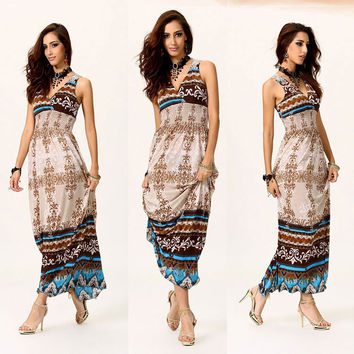 Print Plus Size Bohemia Beach Prom Dress [4918255492]