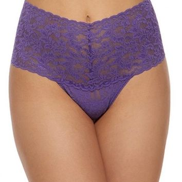 Retro High Waisted Lace Thong